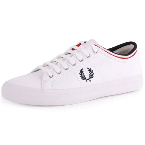 fred perry kendrick b5210 mens canvas white navy trainers