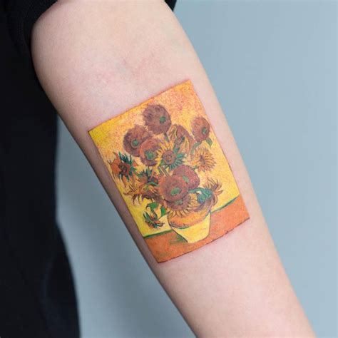 vincent van gogh s sunflower series inspired tattoo