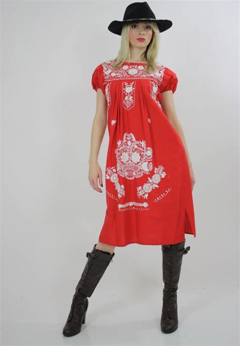 Dress Aa vintage 70s boho embroidered oaxacan mexican dress