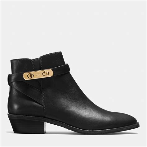 coach coleen leather ankle boots in black lyst