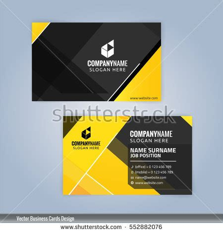 san card template modern business card yellow black colors stock vector