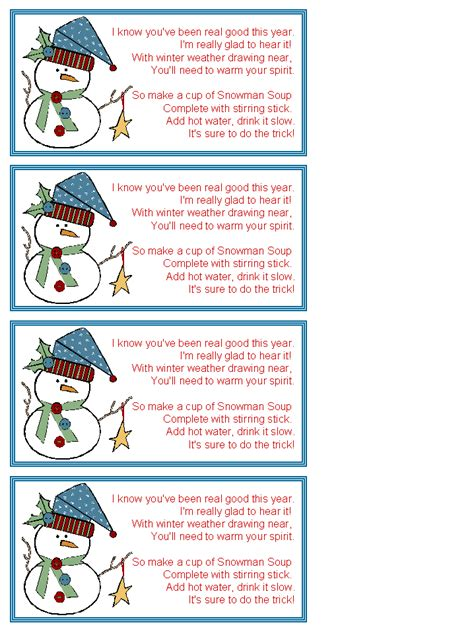 dltk printable gift tags search results for snowman soup poem template calendar