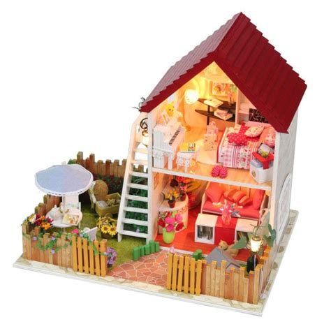 doll house toys free shipping diy wooden miniature furniture doll house with garden mini vila doll