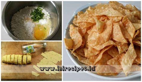 resep keripik pangsit renyah pedas  gurih