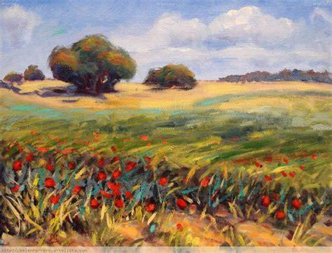 imagenes de paisajes en oleo paisaje con amapolas copia bel 233 n h cosgaya artelista com