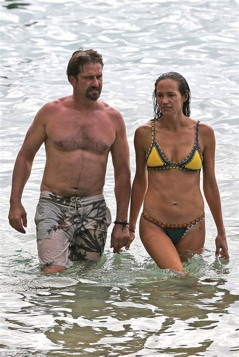 actor that looks like gerard butler gerard butler and bikini clad girlfriend morgan brown