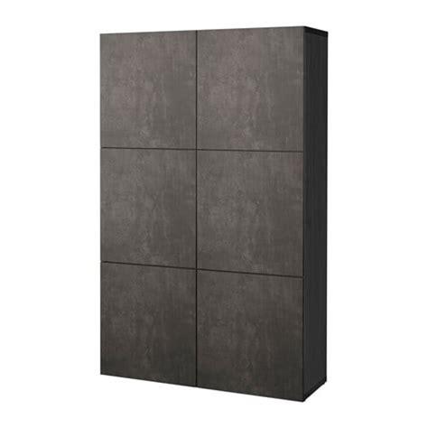 besta betonoptik best 197 storage combination with doors black brown kallviken