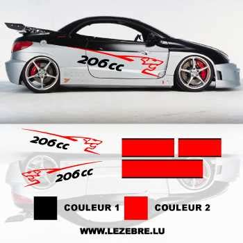 Sticker Tuning 206 by Kit Stickers Peugeot 206 Cc