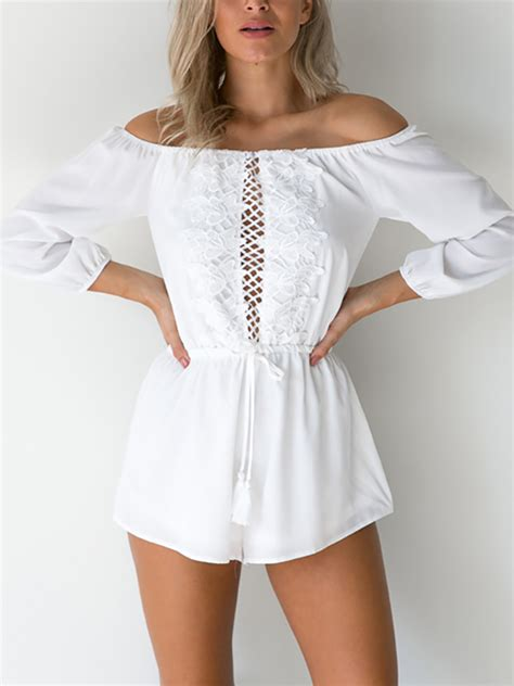 Strapless Lace Playsuit white strapless lace sleeves playsuit us 17 95 yoins