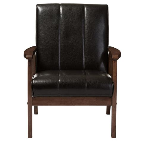 brown faux leather accent chair baxton studio nikko scandinavian brown faux leather