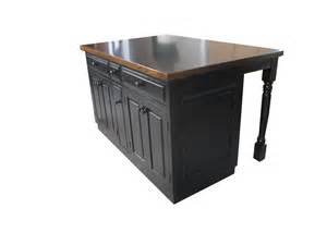 Black Butcher Block Kitchen Island 5ft Black Kitchen Island With Butcher Block Top Spice Tray And Roll Out Tray Ebay