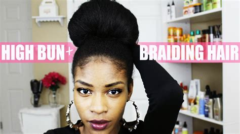 make a bun wth braiding hair natural hair bun with kanekalon braiding hair youtube