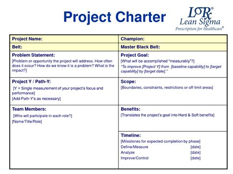project charter template simple best photos of sle project charter template six sigma