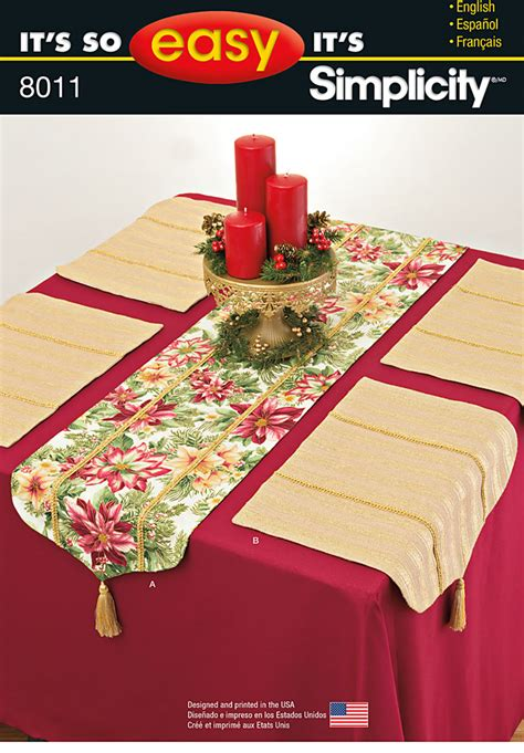 pattern review weekend 2015 simplicity 8011 it s so easy table runner and placemats