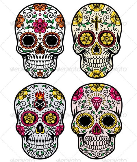 Day Of The Dead Skull Vector Set Symbols Tattoos Vector Day Of The Dead Skull Vector