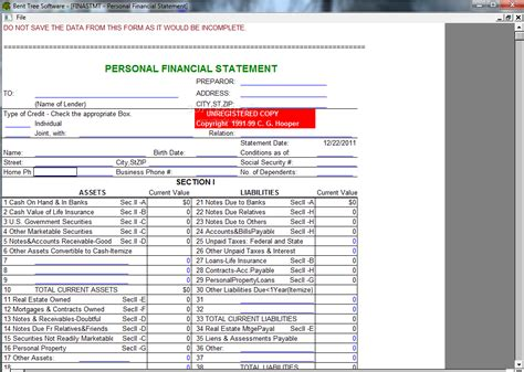 new free personal financial statement template premium worksheet