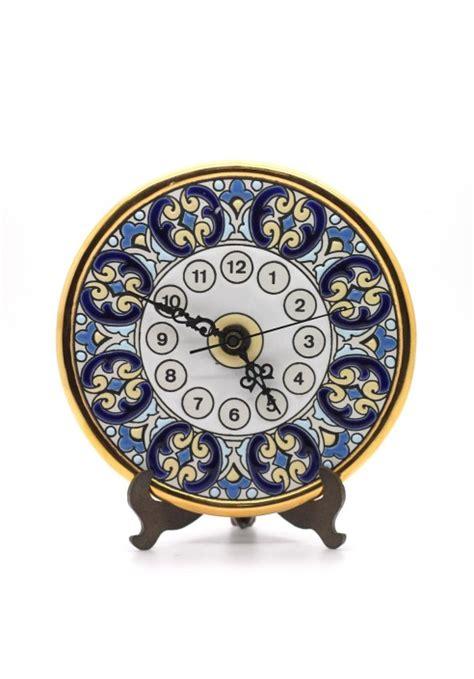 Handmade Ceramic Clocks - 14cm handmade ceramic clock with enamel 24kt gold