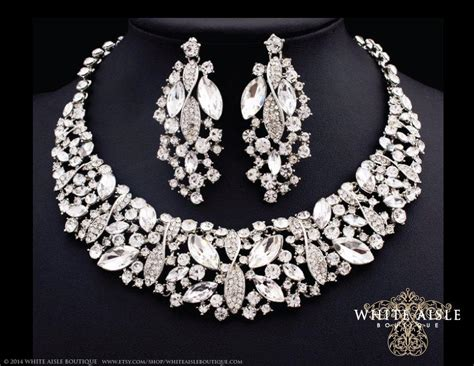 how to make rhinestone jewelry bridal statement necklace necklace earring set