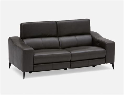 All Leather Reclining Sofas by Seagram All Leather Power Recliner Sofa Grey Structube