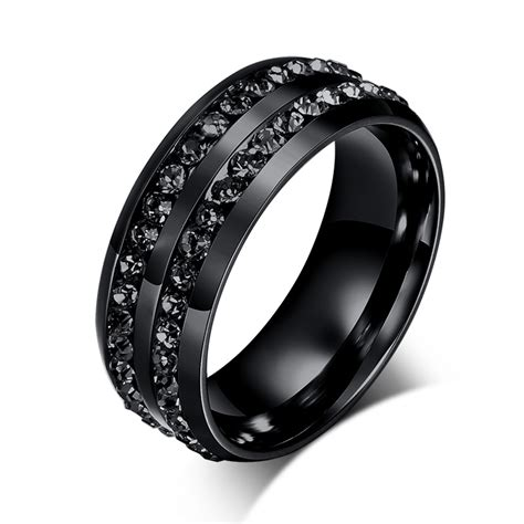 New Fashion Men Rings Black Crystyal Rings Stainless Steel