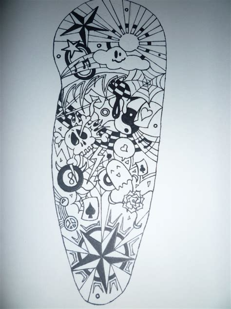 random sleeve tattoo designs black and white half sleeve by aalleeexx on deviantart