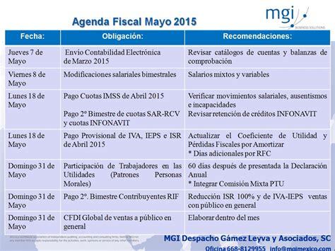Calendario Fiscal 2015 Agenda De Obligaciones Fiscales Mayo 2015 El Conta Punto