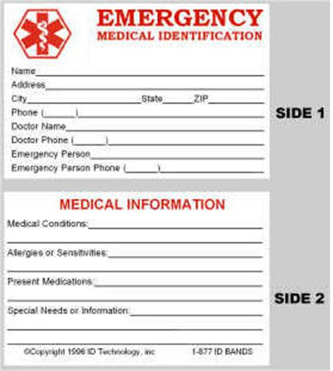 free printable medical id cards the mediband ordering a lightweight medical alert id