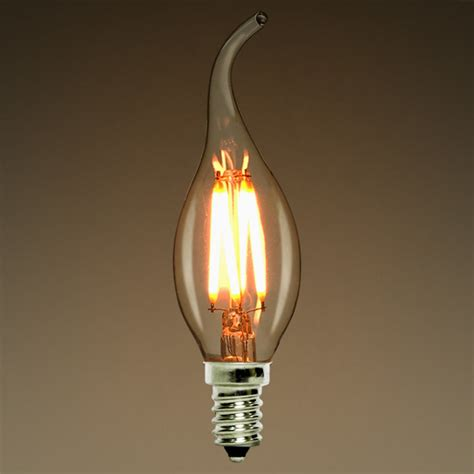 dimmable 2w 4w 6w led filament light bulb flame tip style