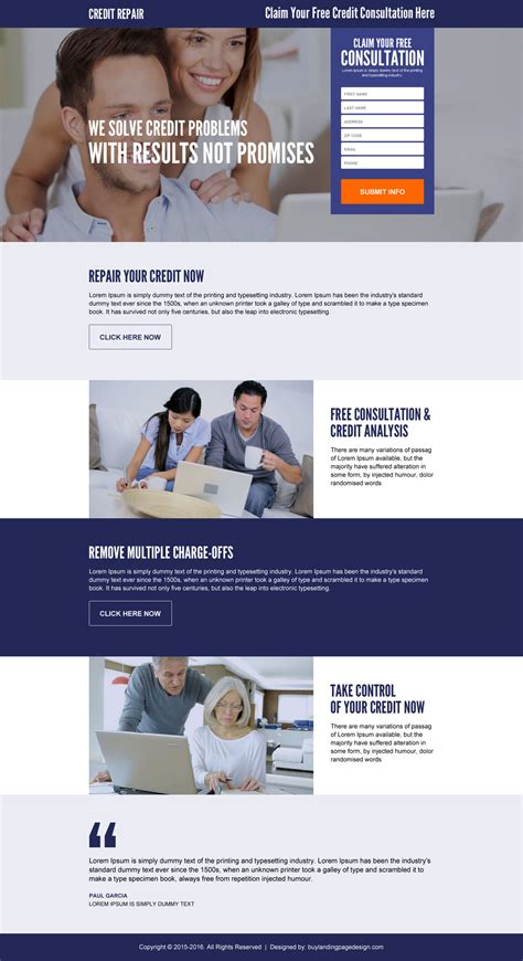 Best Selling Credit Repair Html Landing Page Design Template Credit Repair Landing Page Template