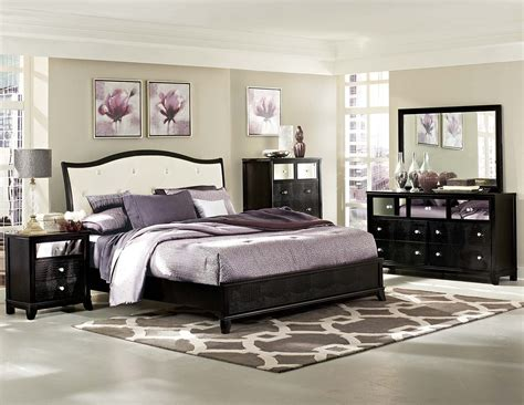 Upholstered Bedroom Furniture Homelegance Jacqueline Upholstered Bedroom Collection Faux Alligator Black 2299w Bed Set