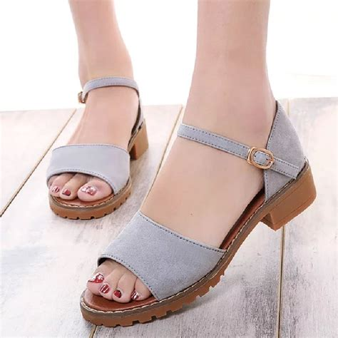 2016 summer sandals cover square low heels casual
