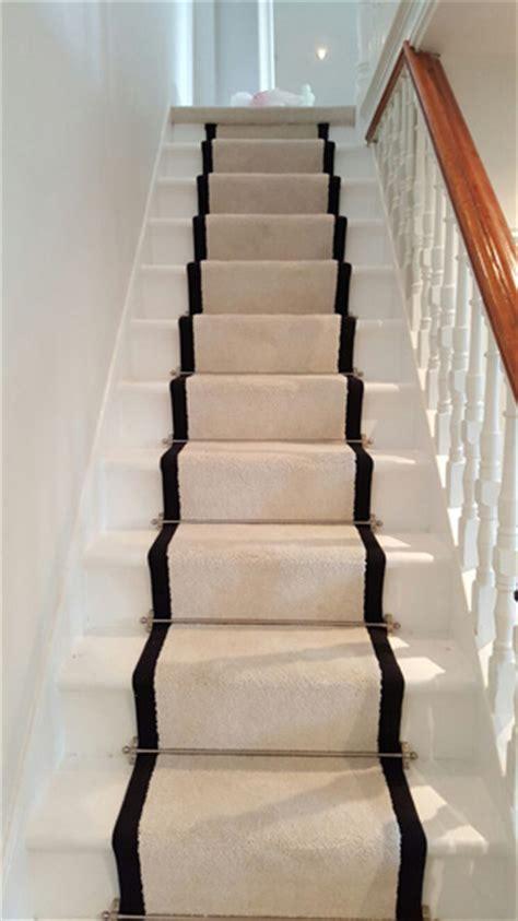 Stairs, White Black Border Carpet Runner   The Flooring Group