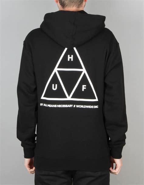 Jaket Sweater Hoodie Zipper Stussy Skate huf triangle pullover hoodie black skate hoodies mens pullover zip skateboard