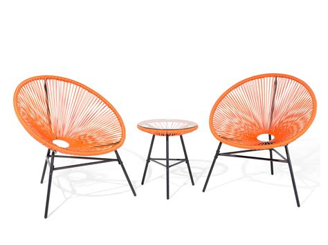 2 Chairs And Table Patio Set Garden Furniture Patio Set Outdoor Bistro Set Table And 2 Chairs Orange Nandor