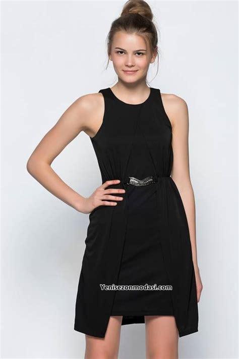 siyah kisa mini 2015 elbise modeli kadinlive com siyah asimetrik kolsuz kisa gunluk koton siyah elbise