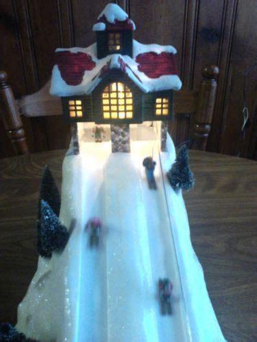christmas st nicholas square animated ski slope  dept   lemax  christmas
