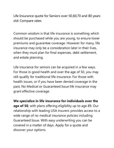 compare life insurance quotes  seniors       year