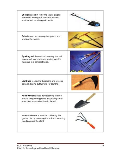 types of garden tools and their uses k to 12 horticulture learning module