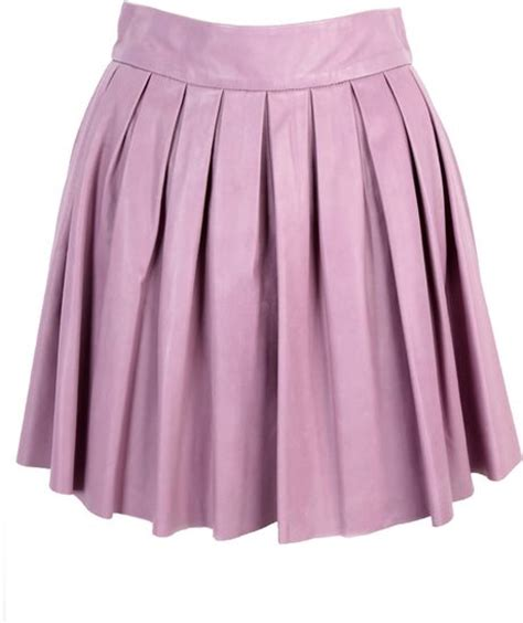 box pleat leather skirt in purple lilac
