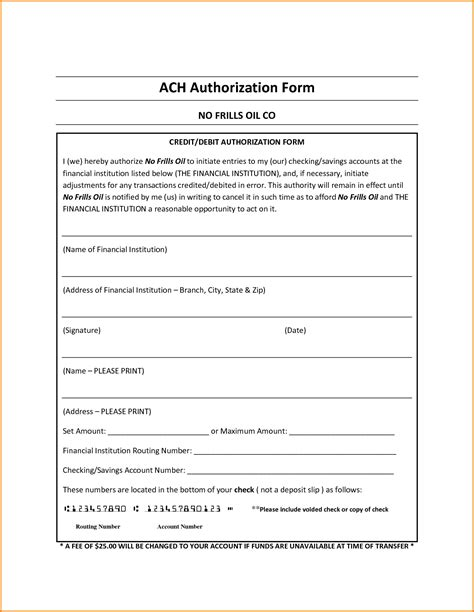 credit card or ach authorization form template word ach authorization form template best template idea