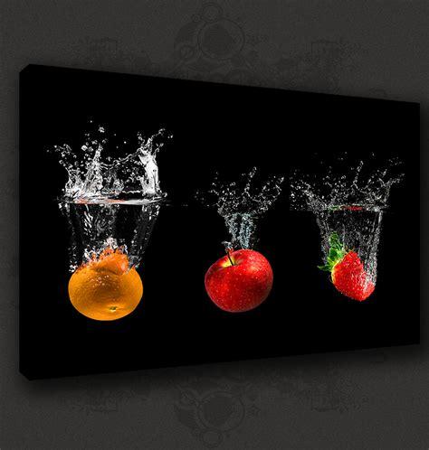 Black Fruits Splash Modern Kitchen Art Canvas Print Poster Kitchen Canvas Wall Decor