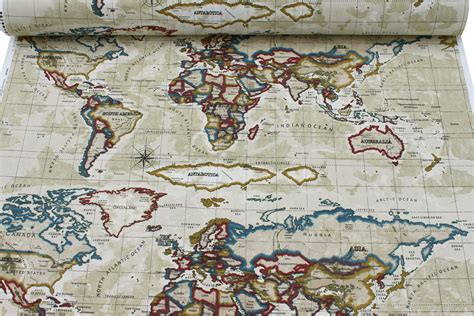 world map upholstery fabric prestigious world atlas map azure designer curtain cushion