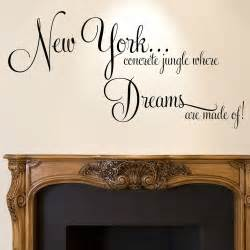 Wall Stickers Quotes Bedroom Details About New York Wall Sticker Quote Dreams Home