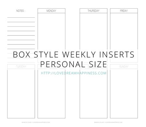 printable happy planner inserts free printables planner insert box style planner insert