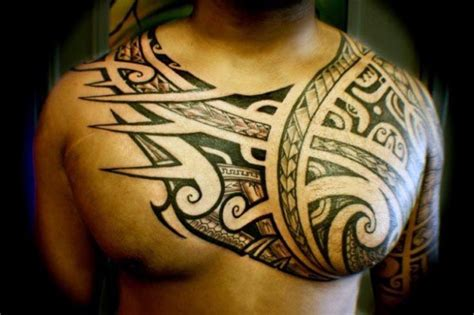 meaningful chest tattoos for men top 60 best tribal tattoos for symbols of courage