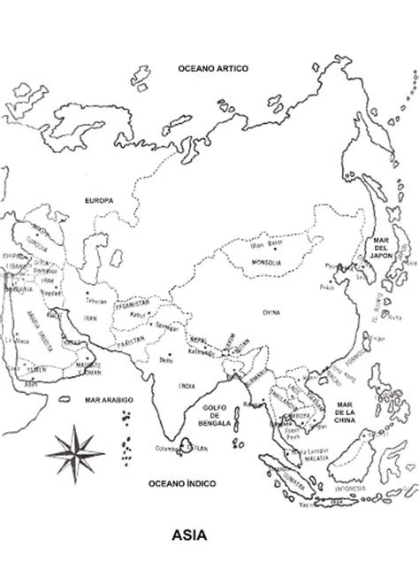 free coloring pages of asia map blank