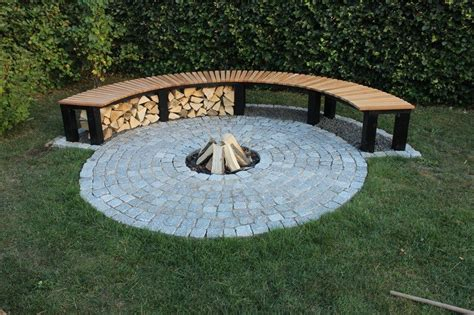 diy fire pit bench firewood storage ideas the owner builder network