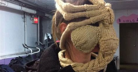knitted facehugger nothing says like a knit facehugger lol no