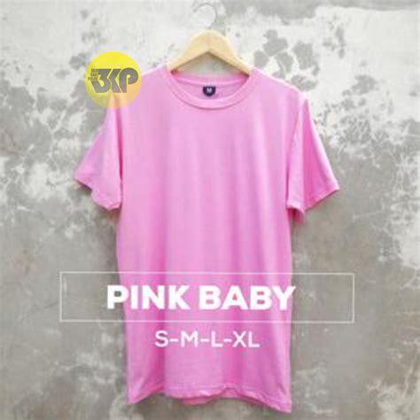 Kaos Distro Polos Pink baju kaos polos pink baby lengan pendek cotton combed 30s