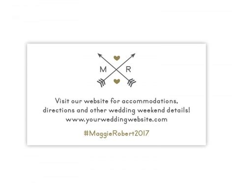 Wedding Hashtag Cards by Wedding Website Card Wedding Hashtag Card With Arrows In